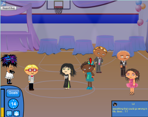 The chosen protagonist, Naomi (identified by a red exclamation mark), interacts with the other characters on Prom Night.