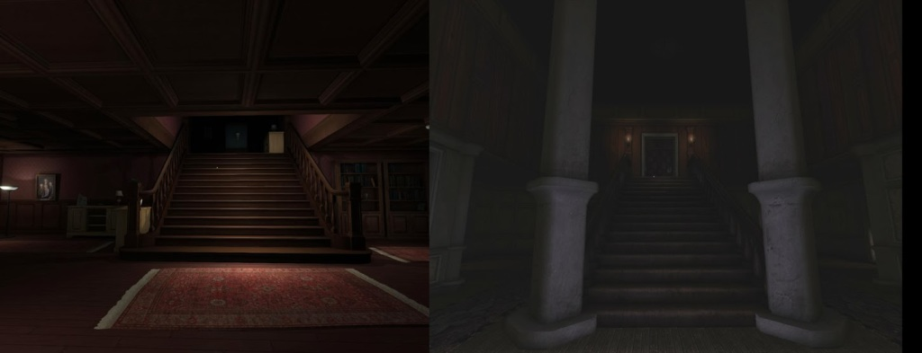 A scene from Gone Home (left) vs the Amnesia engine prototype (right). From http://frictionalgames.blogspot.se/2013/10/gone-home-amnesia-edition.html