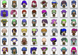 An array of characters created by a pixel art avatar generator. The variability across the range of content made by the system is an expression of (perhaps unintentional) biases on the part of the creator of the system.