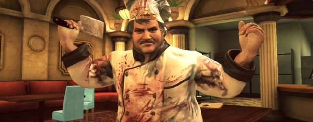 Chef Antoine from Dead Rising menaces with a meat cleaver
