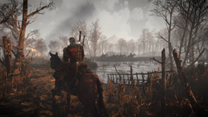 Geralt rides a horse through the Witcher 3's game-world