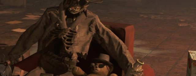 a skeleton smokes a cigar in Fallout