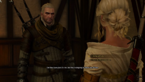 Witcher 3 dialogue. 1. Going with you. 2. You'll do fine on your own.