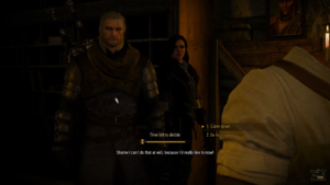 Witcher 3 dialogue. 1. Calm down. 2. Go for it.