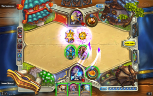 Caption: Jaina Proudmoore casts a magic missile on her opponent and his minions in Hearthstone. Source: Blizzard Entertainment