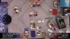 Two players play the card game Android: Netrunner