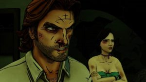 A screenshot of Bigby and Faith from The Wolf Among Us