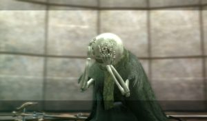 A screencap of a skeleton creature from Nier