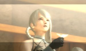 A feminine character from Nier is lit by soft light