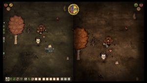 A screenshot from Don't Starve Together depicting a werebeaver.