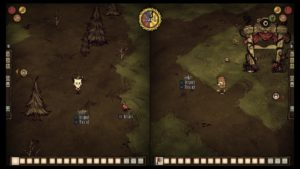 A screenshot from Don't Starve Together from the first day of a co-op game, showing the characters Wilson and Woodie.