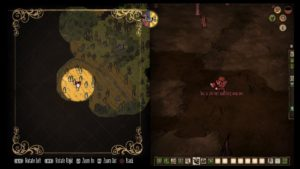 A screenshot from Don't Starve Together that depicts one player showing the other their map.