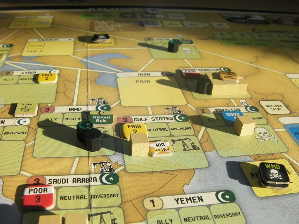 """The Sun Rises on the Middle East,"" accessed at BoardGameGeek. Labyrinth's gameplay models real-world current events."