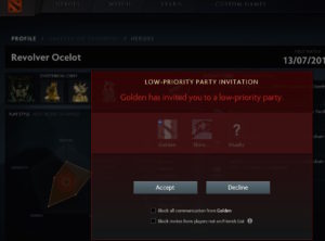 A screenshot from DOTA 2 depicting a low-priority party invitation