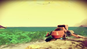 A screenshot of the author's ship in No Man's Sky, parked on a beach.