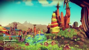 A screenshot of a very brightly coloured planet in No Man's Sky
