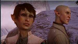 A screenshot from Dragon Age: Inquisition depicting the player character and the NPC Solas