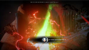 A screenshot of Dragon Age: Inquisition depicting a dialogue wheel