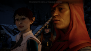 A screenshot from Dragon Age: Inquisition showing a cutscene