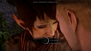 A screenshot from Dragon Age: Inquisition depicting a romantic conversation