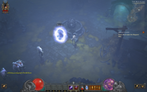 A screenshot of Diablo III depicting the game before the player enters The Darkening of Tristram event