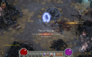 A screenshot of Diablo III showing the pixelated filter applied to Diablo III during The Darkening of Tristram event