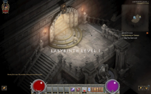A screenshot of the first level of the labyrinth in The Darkening of Tristram
