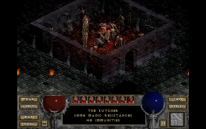 A screenshot from Diablo 1 of The Butcher