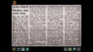 "A screenshot from Nancy Drew: Trail of the Twister. It depicts a newspaper article with the headline ""Modern Day Land Rush"""