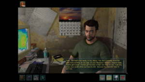 A screenshot from Nancy Drew: Trail of the Twister depicting a disillusioned character telling Nancy Drew to give up on her dreams