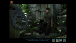 A screenshot from Nancy Drew: Trail of the Twister showing the same disillusioned character mentioned earlier in the article looking shaken after a crash