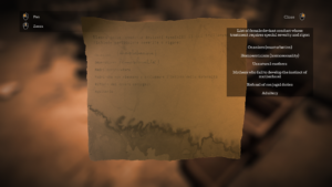 A screenshot from Town of Light depicting a torn page