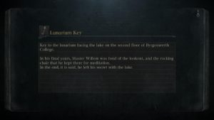 A screenshot depicting an updated loading screen in Bloodborne that displays item descriptions