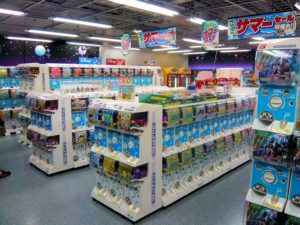 A photograph depicting many Gachapon machines