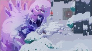 A screenshot from the video game Hyper Light Drifter depicting a titan