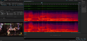 A screenshot of Adobe Audition's sound visualization tools showing Pyrrha's knockout scream.