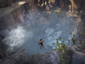 A screenshot from the video game Brothers depicting the older brother helping the younger brother cross water