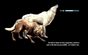 A screenshot from Skyrim depicting a loading screen tooltip about wolves
