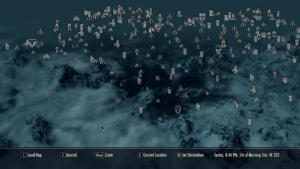 A screenshot of the world map in Skyrim