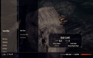 A screenshot depicting the loot screen for a bear.