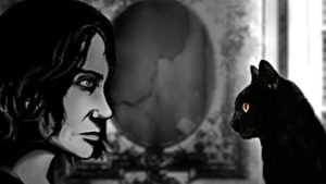 An image depicting Susan and her cat, Teacup, from the game The Cat Lady