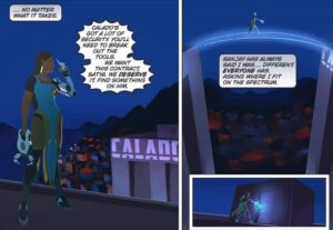 """A panel from Blizzard's """"A Better World"""" Overwatch comic."""