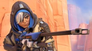 A screenshot of the game Overwatch depicting Ana Amari, a support sniper