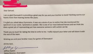 Letter to an Overwatch fan from Jeff Kaplan confirming Symmetra's autism.