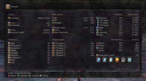 A screenshot of the stats screen from Dark Souls III. There are a lot of stats that are not clearly defined.