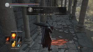 "A screenshot from Dark Souls III showing the in-game messaging system. The message says ""be wary of right"""