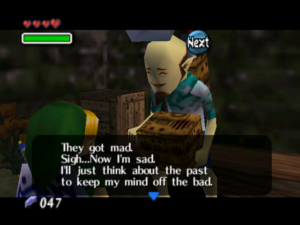 A screenshot of a conversation between Link and an NPC in Majora's Mask. The NPC talks about how they think about the past to keep their mind off the bad.