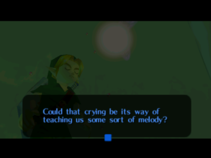 A screenshot of Majora's Mask that reads: Could that crying be its way of teaching us some sort of melody?