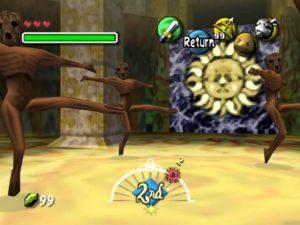 A screenshot of Majora's Mask showing some NPCs dancing