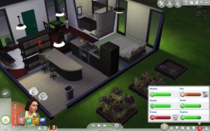 A screenshot of The Sims 4 showing the user interface for monitoring moods.